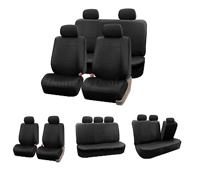 Black Leather Look Car Seat Covers Cover Set For Seat Leon ST Estate 2014 On