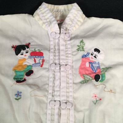 Vintage Real Chinese Embroidered Applique Childrens Pajamas~Size 4