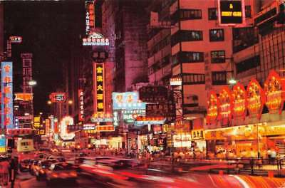 Kowloon Hong Kong night scene Golden Mile of Nathan Rd vintage pc Z454681