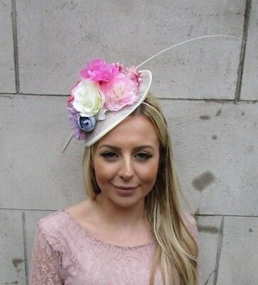 Ivory Cream Pink Feather Flower Saucer Disc Hat Fascinator Races Wedding 5479