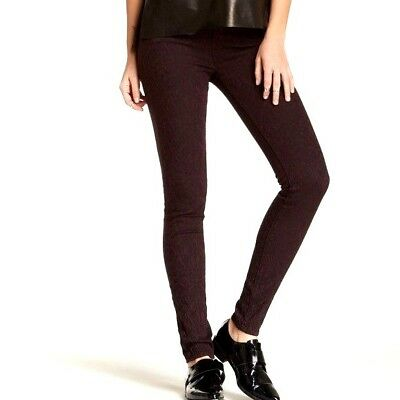 VINCE. Womens BROCADE TEXTURED SKINNY JEANS MidRise Stretch Pants Burgundy 26x30