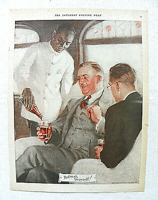 "1924,feb.16 Saturday Evening Post ""refresh Yourself!"" Men Being Served By Porter"