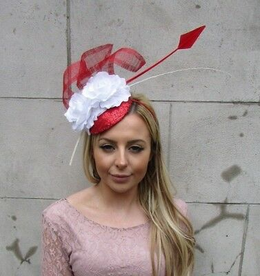 Red White Sequin Feather Flower Pillbox Hat Fascinator Races Ascot Sinamay 5490