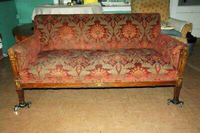 """Antique Wood & Upholstered Red Brocade Upholstery Sofa Couch 63"""""""