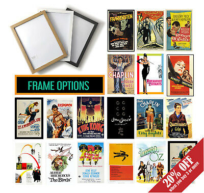 Classic Cult Movie Posters, A3 A4 Framed Film Print Options, Vintage Wall Art