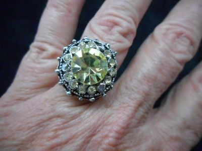 Authentic Vintage 1950's Gold Tone Faux Citrine Rhinestone Ring Adjustable