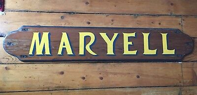 "Vintage Boat Yacht Name Board - MARYELL - 44"" x 8"""