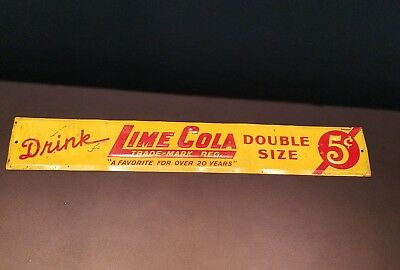 Vintage 1940's Drink Lime Cola Embossed Tin Door Store Advertising Push Sign