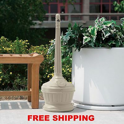 Outdoor Ashtray Cigarette Receptacle Commercial Beige NEW |NO SALES TAX|Clean