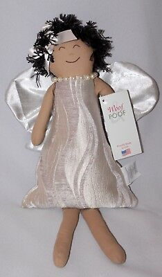 "WOOF & POOF Angel 2014 Collectable Decor Pearl Silver Taupe NWT 17""x9"" Rare  FBB"