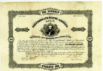 1863   $100    Confederate   Bond    Number Issued 1513
