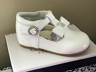 Baby Toddler Girl Spanish Style Sparkly Bow Patent T Bar Shoes White Pink Uk 2-6
