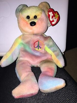 Rare Ty Beanie Baby-PEACE BEAR- Original Collectible with all Tag ERRORS.