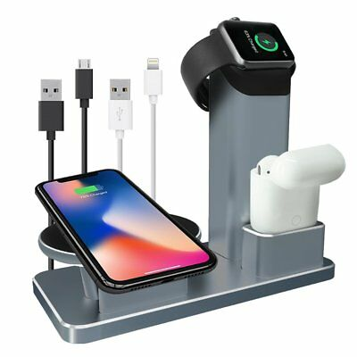 iPhone X/8/7+ Wireless Charger Stand Apple Watch AirPods Dock Charging Station