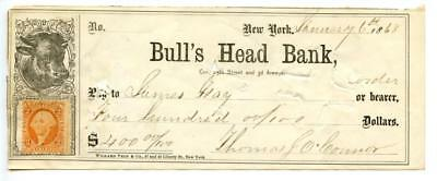 1868    Bull's Head Bank    N.Y.   Revenue   Bank Check