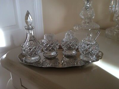 Beautiful Vintage Crystal Cruet Set with Silver Plated Tray.