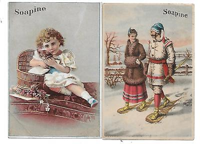 2 Soapine Soap Victorian Trade Cards Cat + Snow Shoes