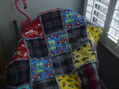 Boutique Baby Boy Rag Quilt~Hand Made ~ Cars ~ Trucks ~