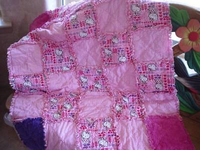 Hello Kitty Rag Quilt  ~  Pink ~ Dots ~ Chenille