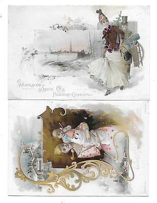 2 Lion Coffee Holiday Greeting Victorian Trade Cards Woolson Spice Co. Toledo Oh