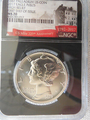 2017 1oz First Palladium High Relief American Eagle NGC MS 70 First Day of Issue
