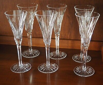 """Waterford Crystal Ardree Set Of 6 Water Wine Stemmed Glasses 8 1/4"""" Tall"""