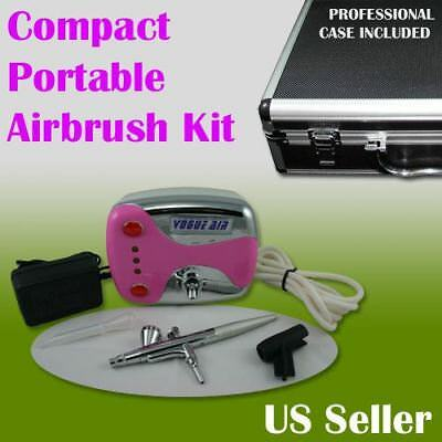 Compact Portable Airbrush Air Compressor Kit Gravity Feed Spray Makeup Tattoo
