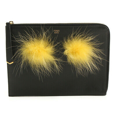 74731d42b64a Authentic Fendi Monster Fur Leather Clutch Bag Black Grade A Used -At