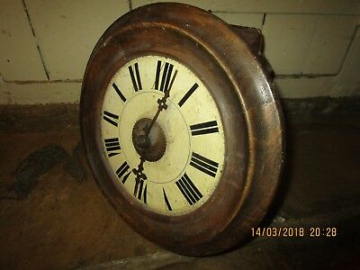 Antique wooden wall mounted Postman's Clock. Antique chain drive wall clock (1