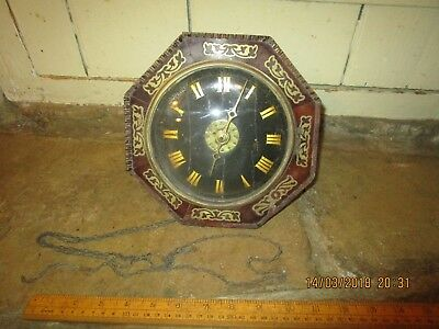Antique wooden wall mounted Postman's Clock. Octagonal case with Brass inlay  (2