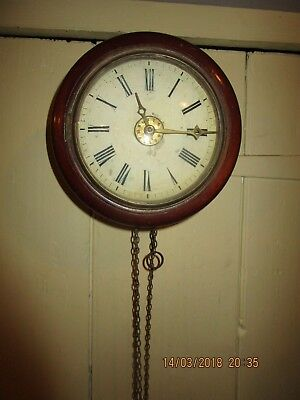 Antique wooden wall mounted Postman's Clock. Chain drive Postmans wall clock  (3