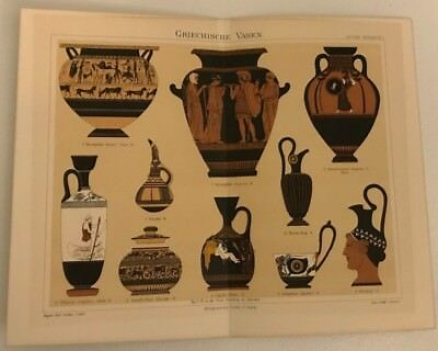 Russian Book Antique Greek Vases Colored Litho Art Bookplates