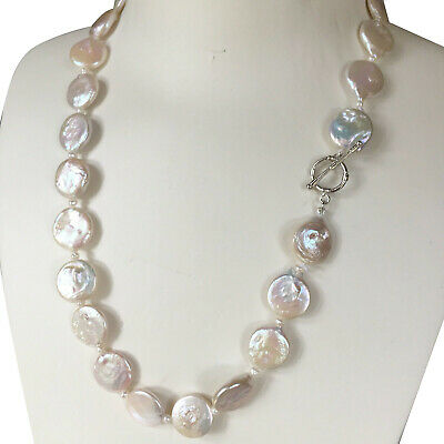 Natural White 13-14mm Huge Button shape Freshwater Baroque pearl necklace AA+