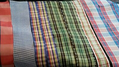 Vintage 1930s Rayon Plaid Ribbon Lot of 15 Pieces