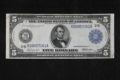 $5 1914 Large Federal Reserve Note B28857061A Fr#848 KL#276, FREE SHIPPING