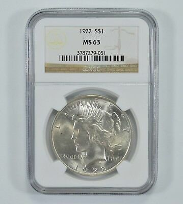 GRADED - 1922 Peace Silver Dollar - MS-63 - NGC Graded *991