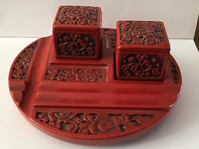 Set Japanese Lacquer ware CONTAINER Ink Box Signed