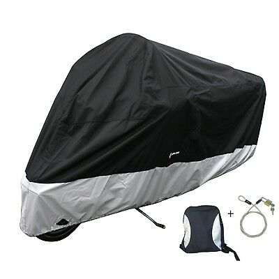 "Heavy Duty Motorcycle Cover (XXL) fits up to 108"" Bikes with Free Cable & Lock"