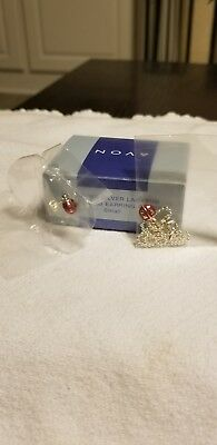 Avon Sterling Silver Ladybug Anklet and Earring Giftset