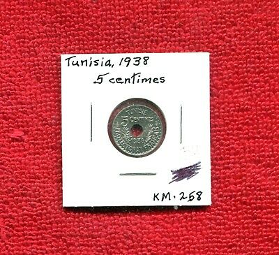 Tunisia 5 Cents Km 258 1938 Bu 7.25