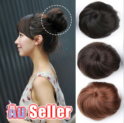 Women Clip On Hair Donut Bun Extension Piece Wig Scrunchie Black Brown