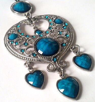 Tibetan Silver Faceted Teal Blue Lucite Necklace Huge Pendant NEW Free Post