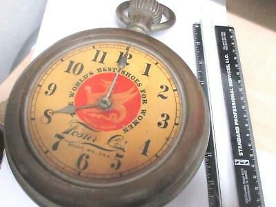 "Advertising Clock  10 1/2"" Tall Shape Of A Pocketwatch  Antique"