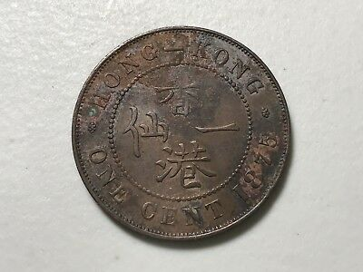 1875 Hongkong One cent world foreign coin Excellent condition nice toning