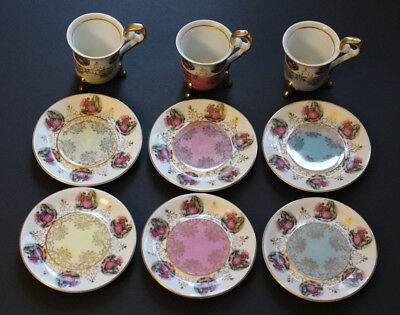 Three porcelain tea cups, six saucers with makers mark