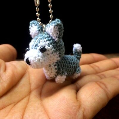 Siberian Husky Crochet Dog Amigurumi Doll Miniature Handmade Animal Cute Keyring