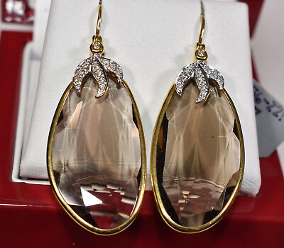 Large Smoky Topaz And Diamond Earrings In 18k Yellow Gold