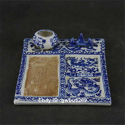 Collectible Chinese Blue and white porcelain Handwork Dragon Word Inkstone