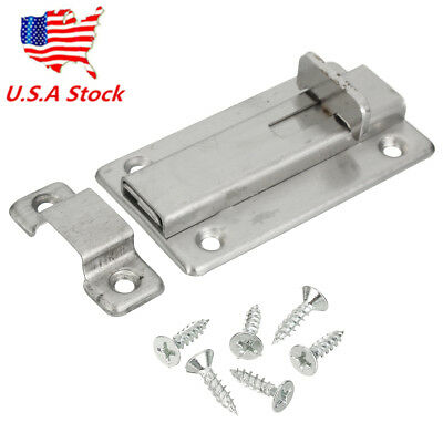 US 3.7'' Stainless Steel Silver Door Bolt Sliding Safety Lock Latch Barrel Bolt