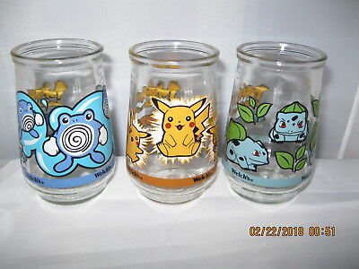 (3)1999 Nintendo Welch's Pokemon Glass Jars